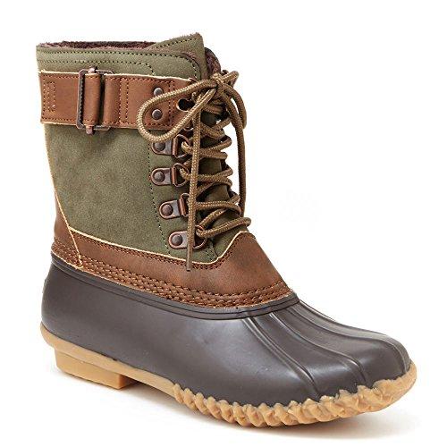 JBU by Jambu Women's Ontario Weather Ready Rain Boot, Army Green/Brown, 9 Medium US by JBU by Jambu