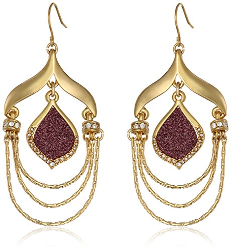 UPC 730588493597, ABS By Allen Schwartz Gold Tone and Pink Glitter Inlay Chandelier Drop Earrings