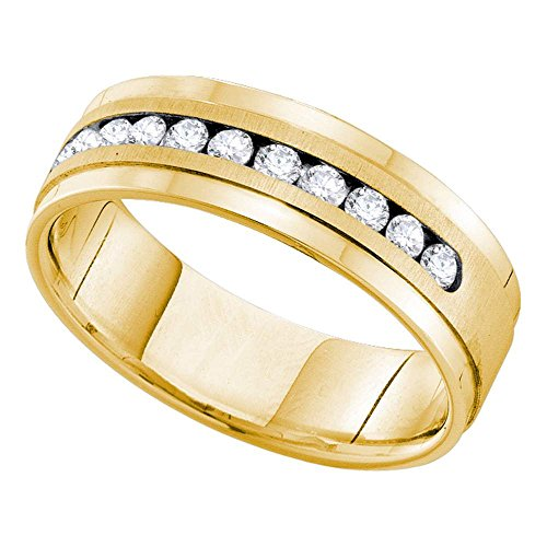 (Mens Round Diamond Wedding Band Solid 14k Yellow Gold Ring Ridged Edges Single Row Channel Set 1/2 ctw)