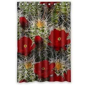 Beautiful Cactus Flower Design Desert Cactus Sunset Custom 100% Polyester Waterproof Shower Curtain 48 x 72