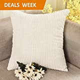Decorative Pillow Cover - Home Brilliant Solid Decorative Toss Pillow Case Striped Corduroy Cushion Cover for Sofa, Cream, 18x18-inch (45cm)
