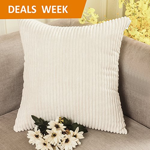 Home Brilliant Solid Decorative Toss Pillow Case Striped Corduroy Cushion Cover for Sofa, Cream, 18x18-inch (45cm)