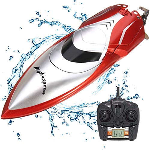 Price comparison product image KOLAMAMA Remote Control Boat,  2.4G High Speed RC Boat for Kids / AdultsElectric Radio Remoter Control Racing Boat with Double-Hatch Protection Waterproof Hull & LCD Display Toys for Lakes Pools