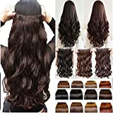 Artifice 5 Clips Fashion 3/4 Head Clip Curly/Wavy Hair Extension, Dark Brown, 26-inch
