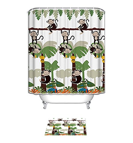 Bath accessories,Monkey Shower Curtain,kids bath kids home bathroom Decorative Bath Collection (66x72inch Shower & 40x60cm Curtain set)