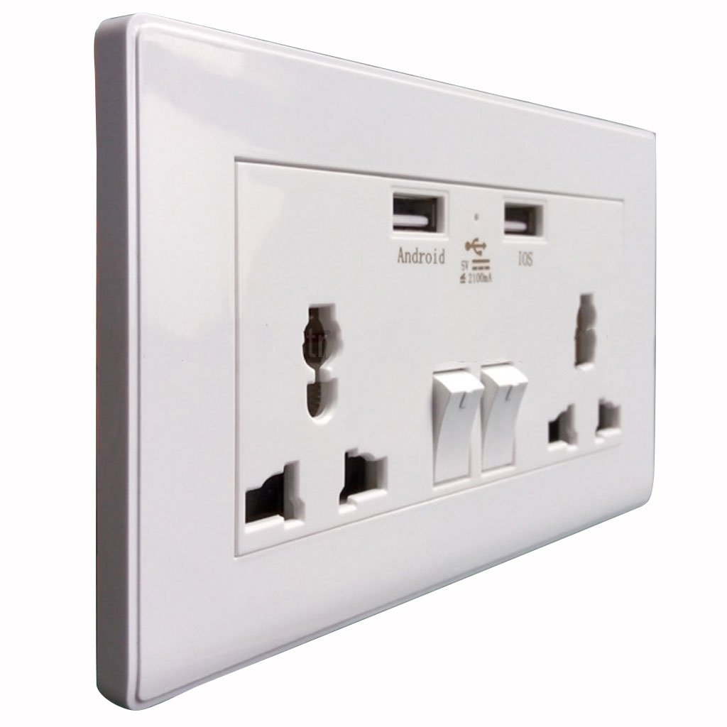 Imported 2-Port USB Wall Socket Switch Charger AC Power Receptacle ...