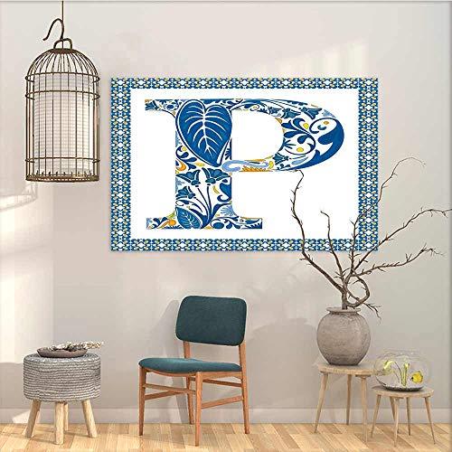 Oncegod Canvas Print Artwork Sticker Letter P Floral Motifs Swirls Tropical Rainforest Vegetation Retro Mosaic Motifs Contemporary Abstract Art Blue Yellow Orange W23 xL19