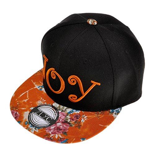 8b51aba78dbbd ZLYC Women Joy Word Embroidered Floral Flat Bill Snapback Hat Adjustable Baseball  Cap
