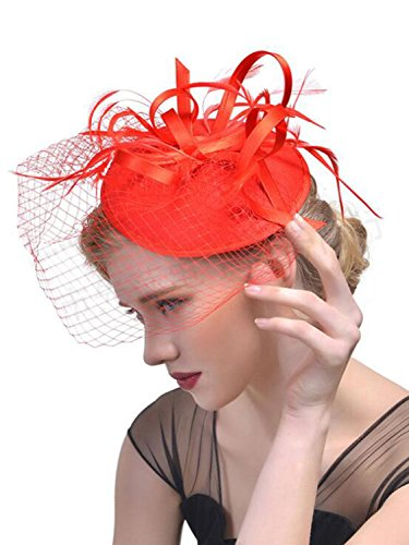 (Red Fascinator with Veil, Tea Party Hat, Church Hat, Kentucky Derby Hat, Fancy Hat, Red Hat, Tea Party Hat, wedding hat, womens hat)