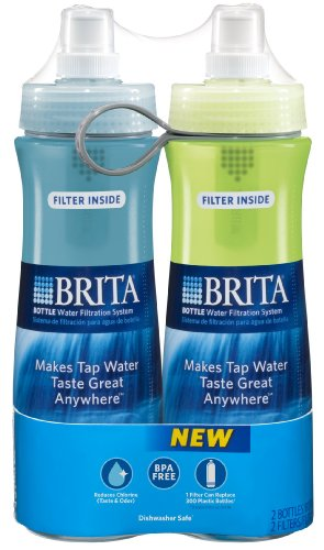 Brita Soft Squeeze Water Filter Bottle, Twin Pack, Aqua and Green, 20 Ounce