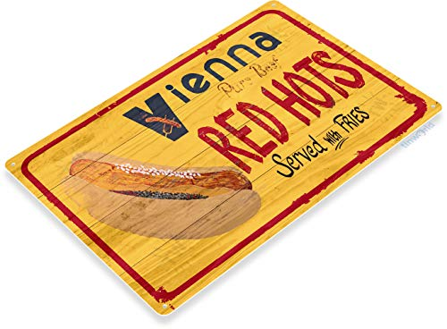 Tinworld TIN Sign C360 Vienna Red Hots Hot Dog Beef Rustic Retro Kitchen Cottage Sign