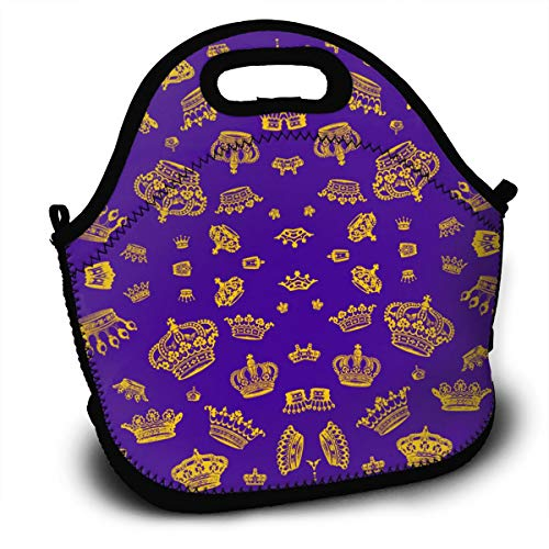 Royal Crowns Lightweight Insulated Thermal Lunch Bag Reusable Lunchbox Bag With Zipper Pocket & Strap For Women Men And Kids (Track Crown Safety)