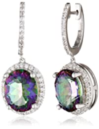 Sterling Silver Mystic Fire Topaz and Created White Sapphire Dangle Earrings