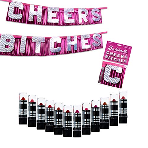 IntiMD 12 Mushroom Lipsticks + Cheers Bitches Banner Bachelorette Party Decoration, DuraColor Infused Lipstick Women Set -