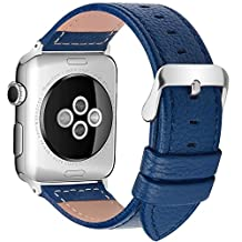 5 Colors Apple Watch Bands,Fullmosa Genuine Lichi Calf Leather Strap Band with Stainless Metal Clasp for iWatch Series1 Series2 Series 3, Dark Blue 42mm