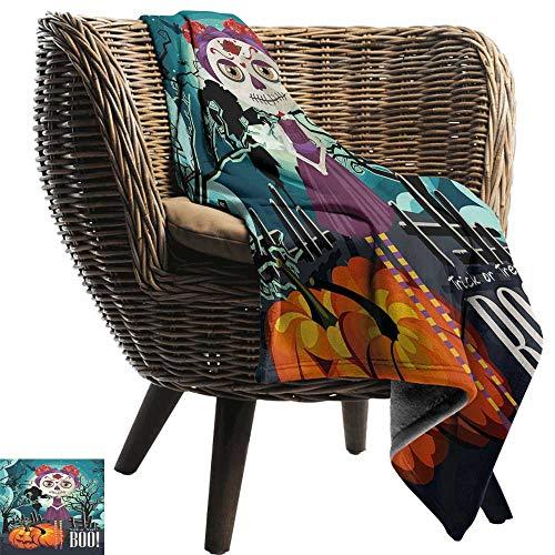 Flannel Blanket Halloween Cartoon Girl with Sugar Skull Makeup Retro Seasonal Artwork Swirled Trees Boo Sofa Warm Bed 72