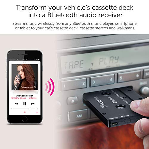 Aluratek Universal Bluetooth Audio Cassette Receiver with Built-in Battery for Car, Boombox, Stereo, RV ABCT01F