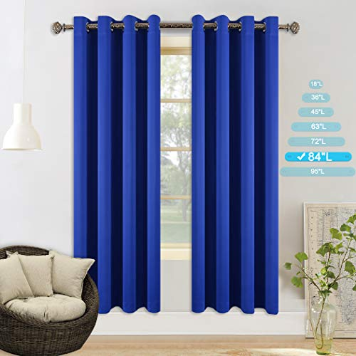 (YGO Royal Blue Bedroom Curtains Grommet Top Blackout Curtains 84 inch for Apartment/Villa, Window Treatment Set, 2 Panels Each is 52 inches Wide by 84 inches Long)