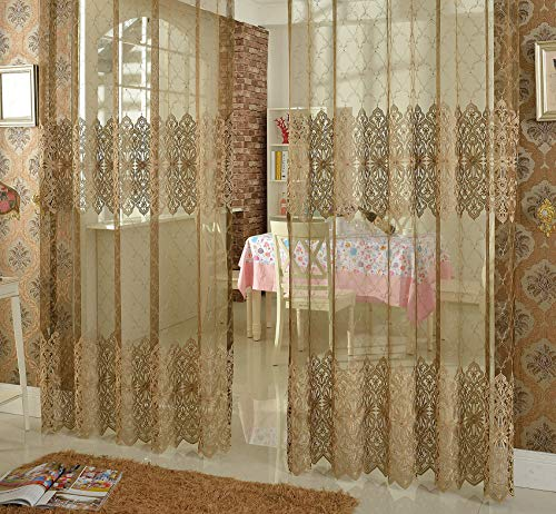 (Aside Bside Luxurious Sheer Curtains Rod Pocket Voile Window Treatments Embroidered Bead Decoration Style for Living Room & Bedroom(1 Panel, W 50 x L 63 inch, Brown))