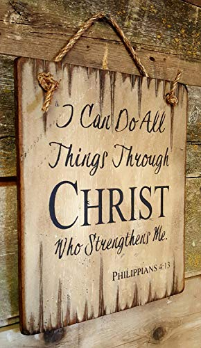 I Can Do All Things Through Christ Who Strengthens Me Philippians 4:13 Religious Bible Quote Rustic Wood Sign Wall Art Home Family Decoration Design Plank Plaque Wooden Sign