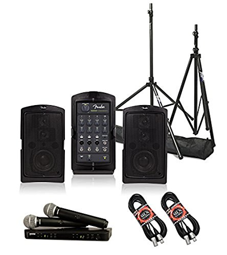 Fender Passport Conference Portable PA System Bundle with Shure BLX288/PG58 Dual Wireless Handheld Microphone System and Accessories - Portable PA - Wireless Mic Fender