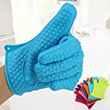1 Pack Ultra Thickened Silicone Heat Insulation Microwave Oven Gloves for BBQ,Baking,Microwave,Grilling Blue