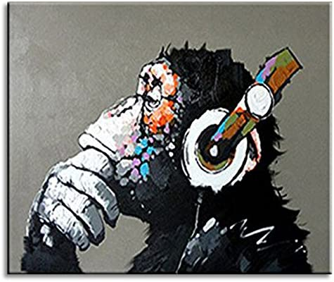 BPAGO Animal Painting Abstract Modern Wall Art for Living Room Chimp 100 Oil Paintings on Canvas Thinking Gorilla Artwork Large Wall Paintings Home Decor Stretched Ready to Hang