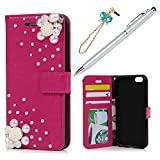 KASOS iPhone 6/iPhone 6S Case Wallet Luxury Elegant Pearl Rose Decorated Pull-Up Leather TPU Inner Shell Kickstand Card Holders Magnetic Front Closure Bumper Cover & Dust Plug & Stylus - Rose Red