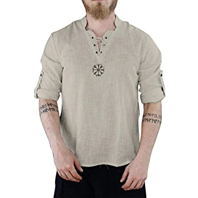 59082d854e Camicie in Lino Casual da Uomo Maniche Lunghe Traspirante Collo V ...