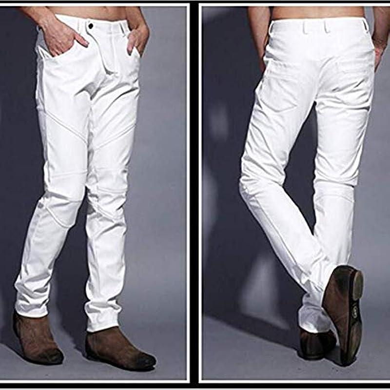 Biddtle męskie spodnie jeansowe ze skÓry, cienkie, aksamitne, z patchworkiem, wąskie dopasowanie, na imprezę, biały, 34: Sport & Freizeit