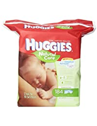 Huggies Natural Care Fragrance Free Baby Wipes, 552 Total Wipes 184 Count (Pack of 3), Packaging May Vary BOBEBE Online Baby Store From New York to Miami and Los Angeles