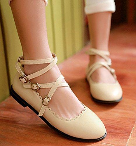 Las Mujeres De La Comodidad Lindo Lindo Con Punta Redonda Toe Strappy Doble Con Cordones De Los Zapatos Del Tobillo Del Abrigo Con La Correa Del Tobillo Beige