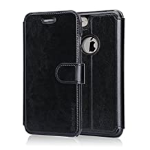 Belemay iPhone 6S Case, iPhone 6 Case, Genuine Cowhide Leather Case Wallet, Flip Folio Book Cover with Magnetic Clasp, Business Card Slots, Stand Function, Cash Pouch for iPhone 6s & iPhone 6 - Black