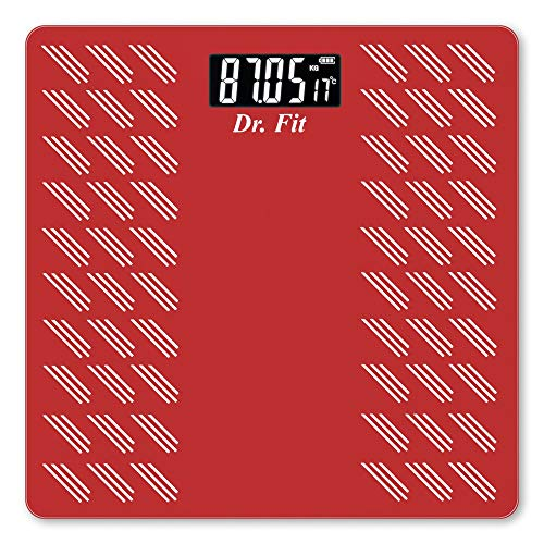 Dr. Fit Glass Top Electronic Digital Weighing Scale  Red