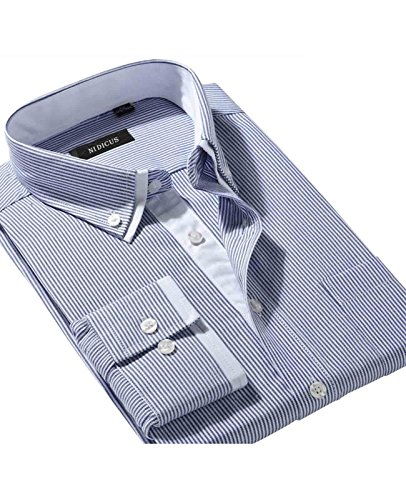 Non Iron Twill Stripe Dress Shirt (Nidicus Men's Non-Iron Double Collar Slim Fit Long Sleeve Stripe Dress Shirt MTSL009)