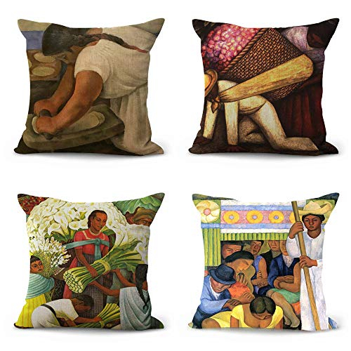 - WholesaleSarong Set of 4 Diego Rivera Calla Lily Vendor Cushion Covers Throws and Cushions for Sofas Inexpensive Home Decor Stores