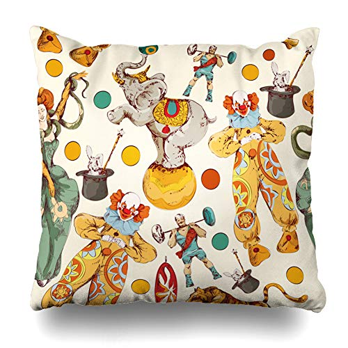 - Ahawoso Throw Pillow Cover Pattern Vintage Circus Clown Magical Carnival Wand Elephant Strongman Fairy Tape Design Fire Home Decor Pillowcase Square Size 20 x 20 Inches Zippered Cushion Case