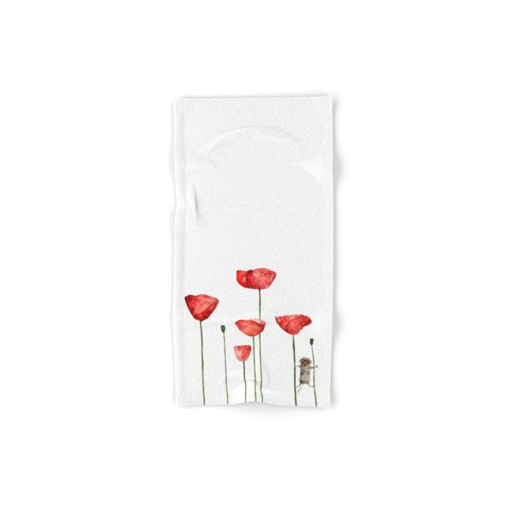 Society6 Mouse And Poppies - Watercolor Illustration Animal + Poppy Flower #Society6 Hand Towel 30''x15''