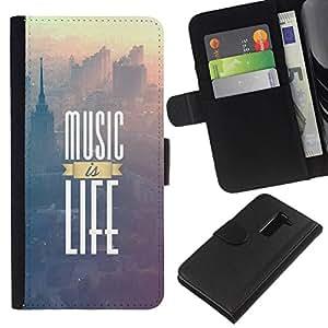 All Phone Most Case / Oferta Especial Cáscara Funda de cuero Monedero Cubierta de proteccion Caso / Wallet Case for LG G2 D800 // Music Is Life Poster