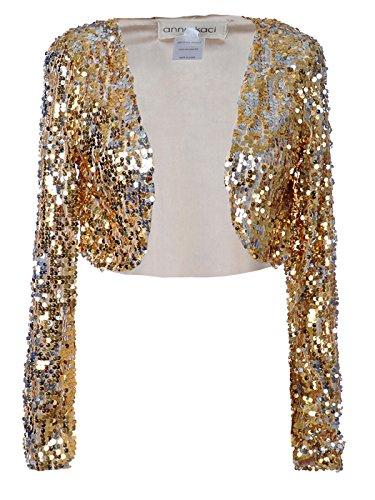 Anna-Kaci Womens Glitter Sequins Shiny Long Sleeve Cropped Bolero Blazers Shrugs