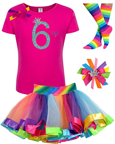 Bubblegum Divas Big Girls' 6th Birthday Rainbow Tutu Outfit 6X - Circus Outfits For Kids