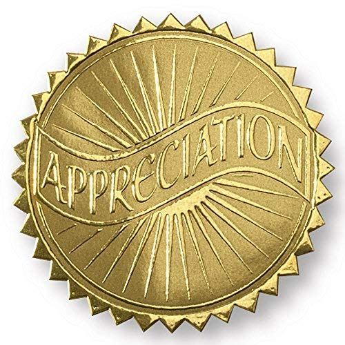 Appreciation Banner Embossed Gold Foil Certificate Seals, 2 Inch, Self Adhesive, 102 Count -