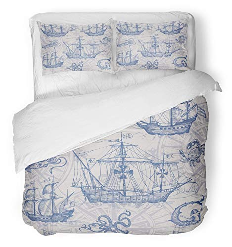 Emvency 3 Piece Duvet Cover Set Breathable Brushed Microfiber Fabric Old Caravel Vintage Sailboat Sea Monster Monochrome Sketch for Boy Detail of The Bedding Set with 2 Pillow Covers Twin Size by Emvency (Image #1)
