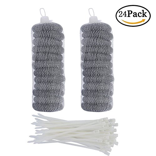 24 Pieces Stainless Steel Washing Machine Lint Traps Snare Laundry Mesh Washer Hose Filter with 24 Pieces Cable (Laundry Lint Filter)