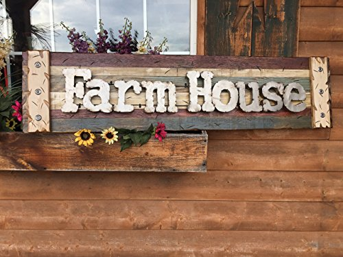 FARM HOUSE Farmhouse Wall Decor Sign Reclaimed Wood Pallet Style Shutter Lg Wood Clock