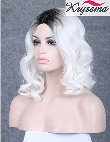 K'ryssma Ombre White Blonde Long Wavy Synthetic Hair Machine Made Wigs 14Inches Shoulder Length 2 Tone Platinum Dark Roots None Lace Wigs Medium Length For White Women Heat Friendly (Black And White Lace Front Wig)