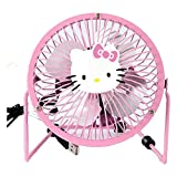 Mini USB Fan, 360 Degree Rotation Portable Hello Kitty Fan, Mental Design USB Powered Quiet 4in Table Fan for Dorm Office Travel + ONE phone Fan