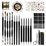 #5: Nail Art Tools Fashion Design - 8 Size Painting Brushes, 5 Carving/Dotting Pen, 12 Indian Style Stickers, Striping Tapes, Irregular 3D Rhinestones, Manicure Sponge(Peeler, Scissors & Nippers Included)