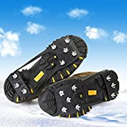 Ice Cleats Snow Shoes Spikes Crampons, Anti-Slip 8-Tooth Crampons Silicone Shoe Covers, Suitable for Flat Shoe