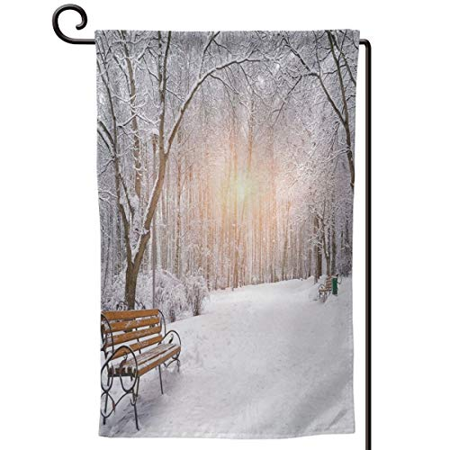 (lsrIYzy Garden Flag,Snow Covered Leafless Trees and Benches in The City Park Sunset Woodland Outdoors,12.5x18.5 inch)